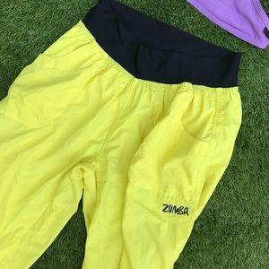bright yellow and black crop capri Zumba pants